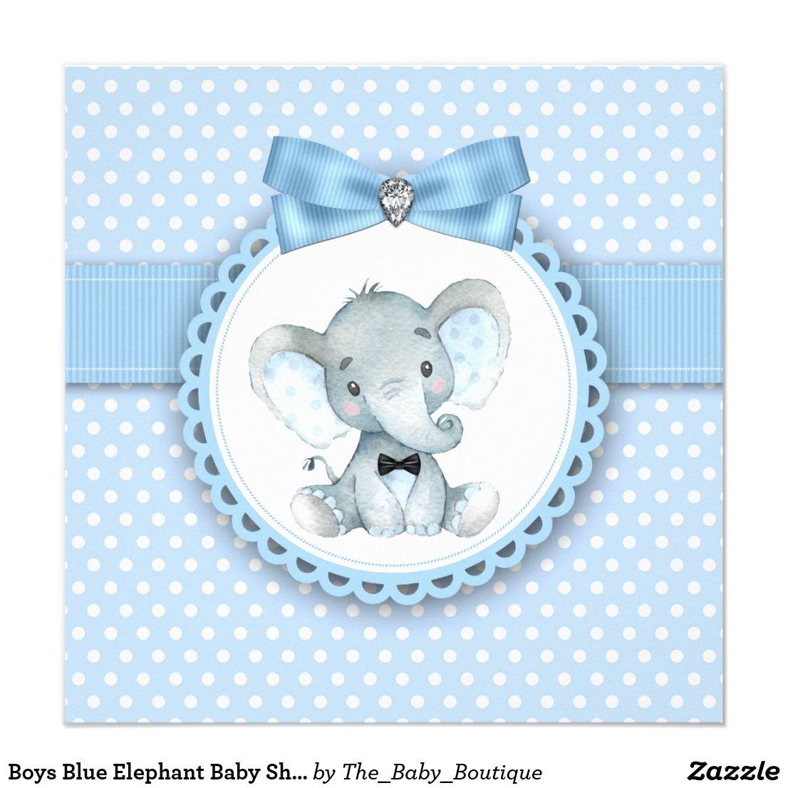 Boys Blue Elephant Baby Shower Invitations Elephant baby showers