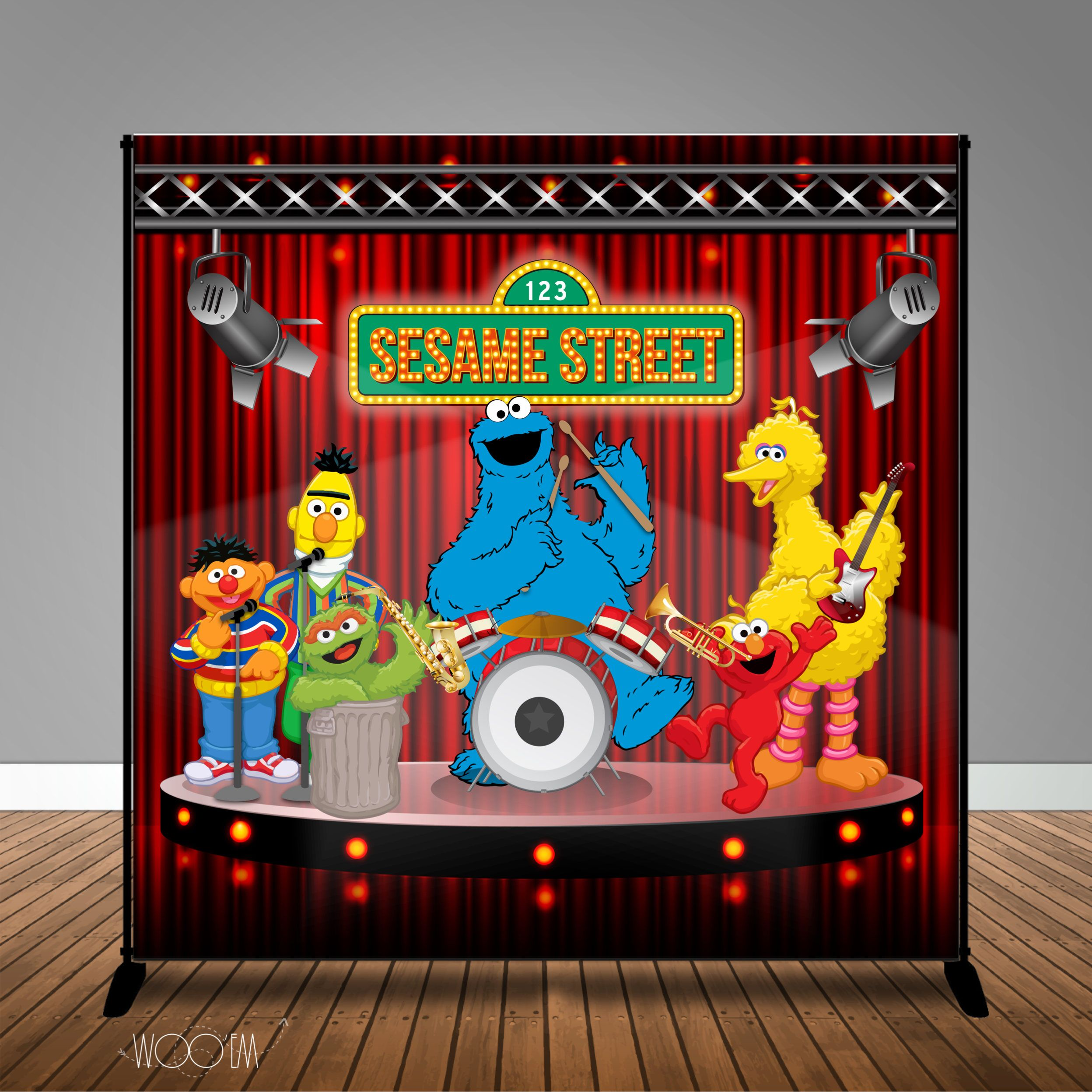 Sesame Street Band Birthday 8x8 Banner Backdrop Step Repeat Design Print And Ship