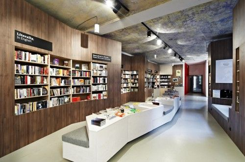 long narrow bookstore interior design office Pinterest