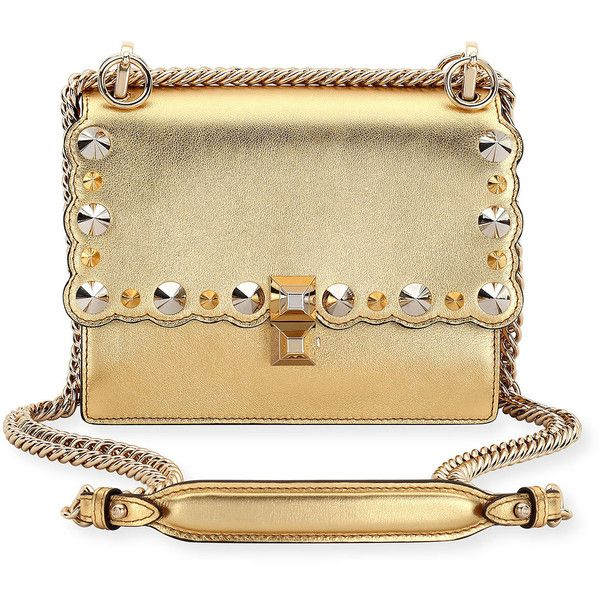 Fendi Kan I Mini Metallic Studded Chain Shoulder Strap ( 2 424f307bf9dbc