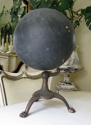 Antique Slate Globe C 1900 Long Before The Cur Repros