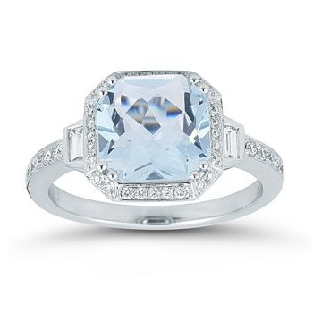 Aquamarine Diamond Ring 14kt White Gold Square Diamond Rings Yellow Diamonds Engagement Blue Rings