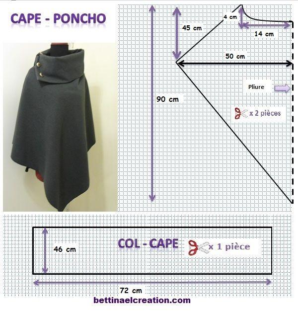DIY: Cape/ Poncho, tutoriel couture gratuit | moldes | Pinterest ...