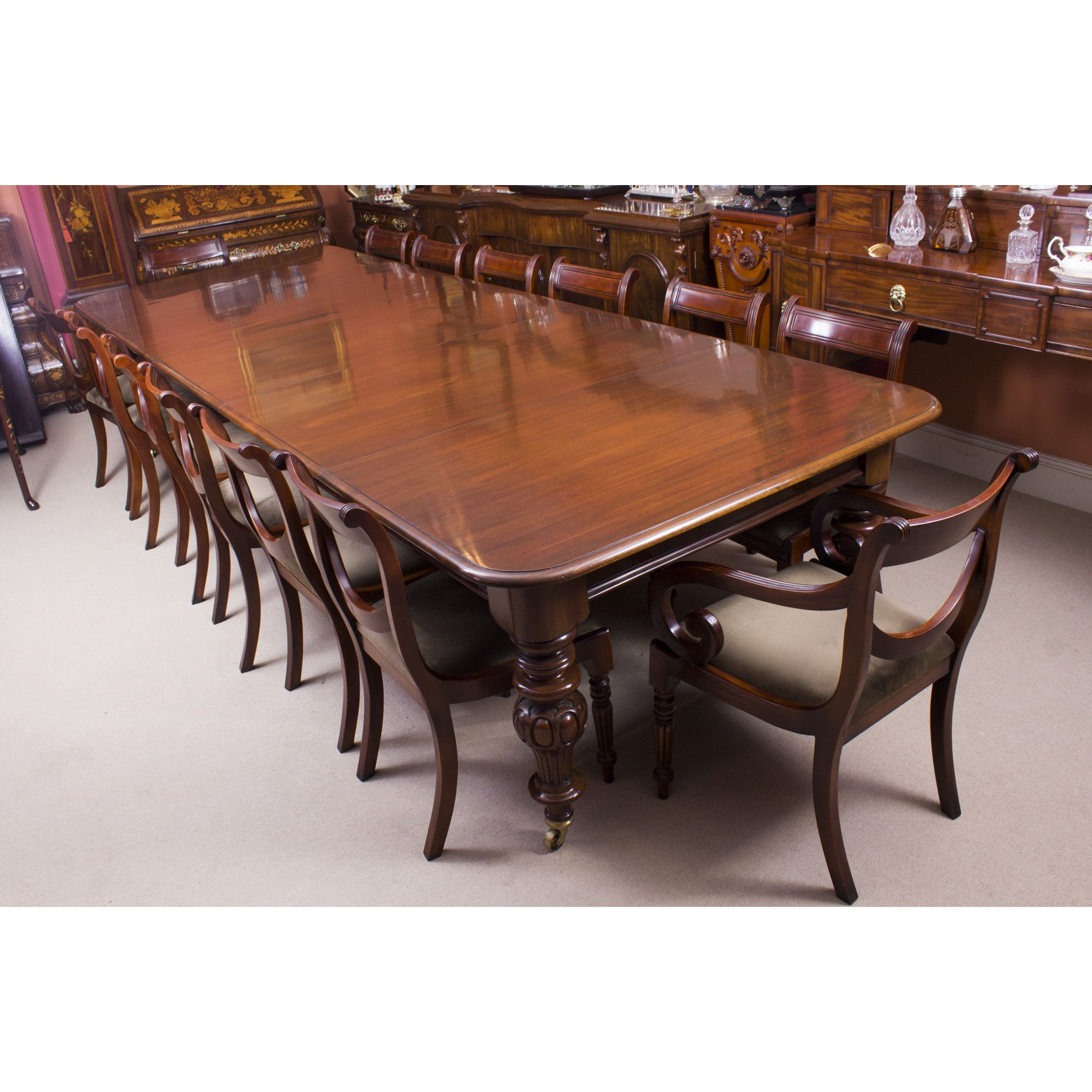 Antique Victorian 12 Ft Flame Mahogany Dining Table 14 Chairs C