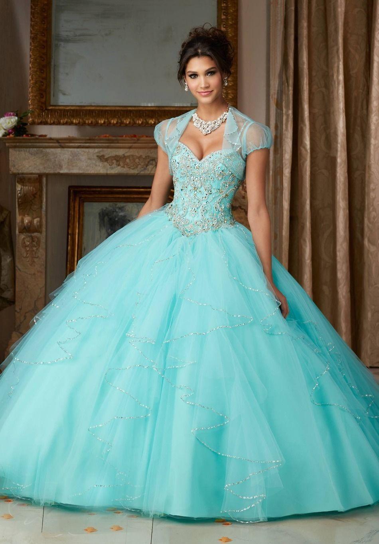 be0f82919 Vestidos quinceanera vestidos de 15 años aqua vestidos baratos 2017 com  cintas de espaguete querida frisada sweet 16 vestido(China (Mainland))