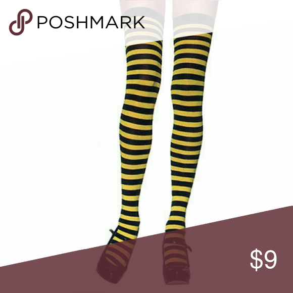 Stripe opaque thigh high socks in black and brown thighs brown 1