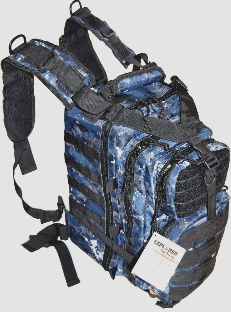 5779d77157cc Navy Blue Digital Camo Tactical Military Style Backpack Book Bag w Molle  Web  Explorer
