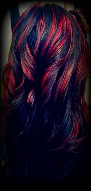 Raven Black With Blood Red Lights Hair Styles Hair Highlights