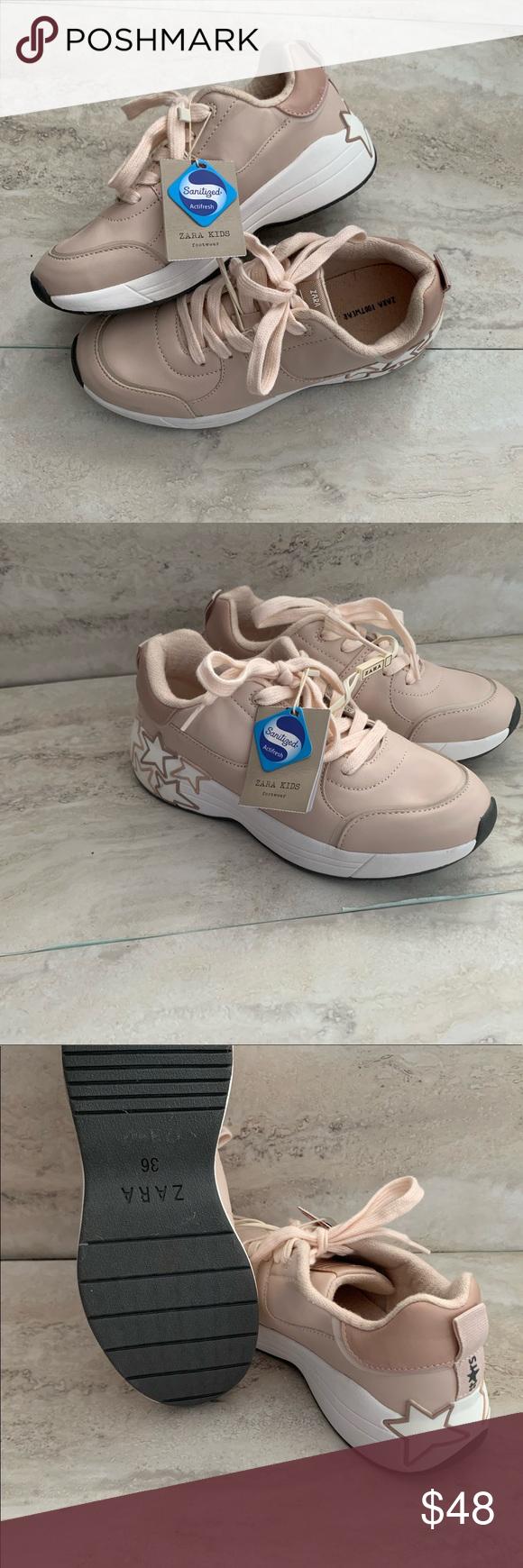 🌿ZARA Kids Pink Star Sneakers in 2020