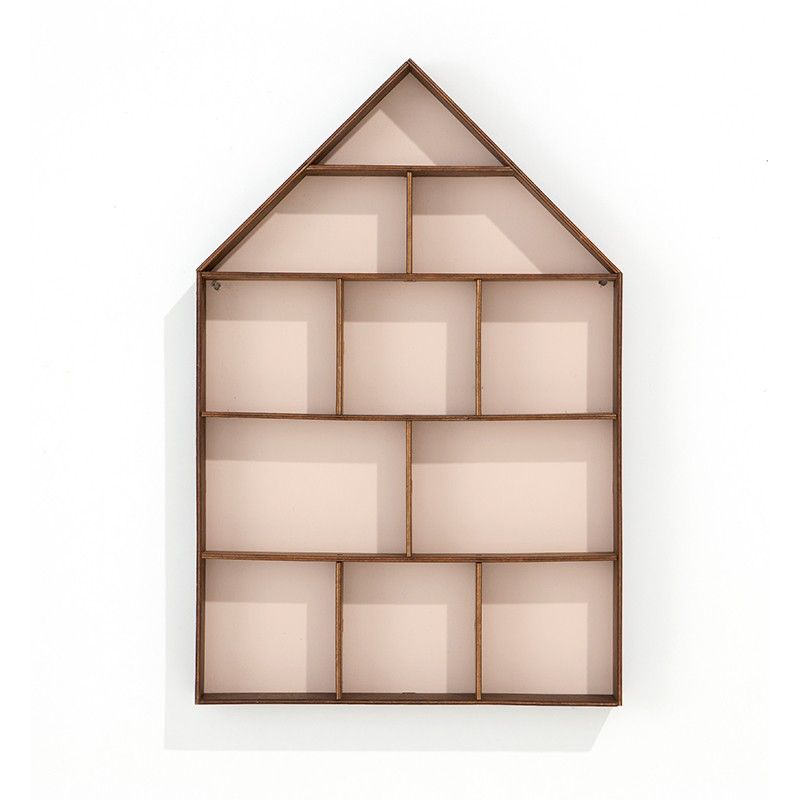 Kinderzimmer Wandregal und Setzkasten, Haus, rosa, Holz
