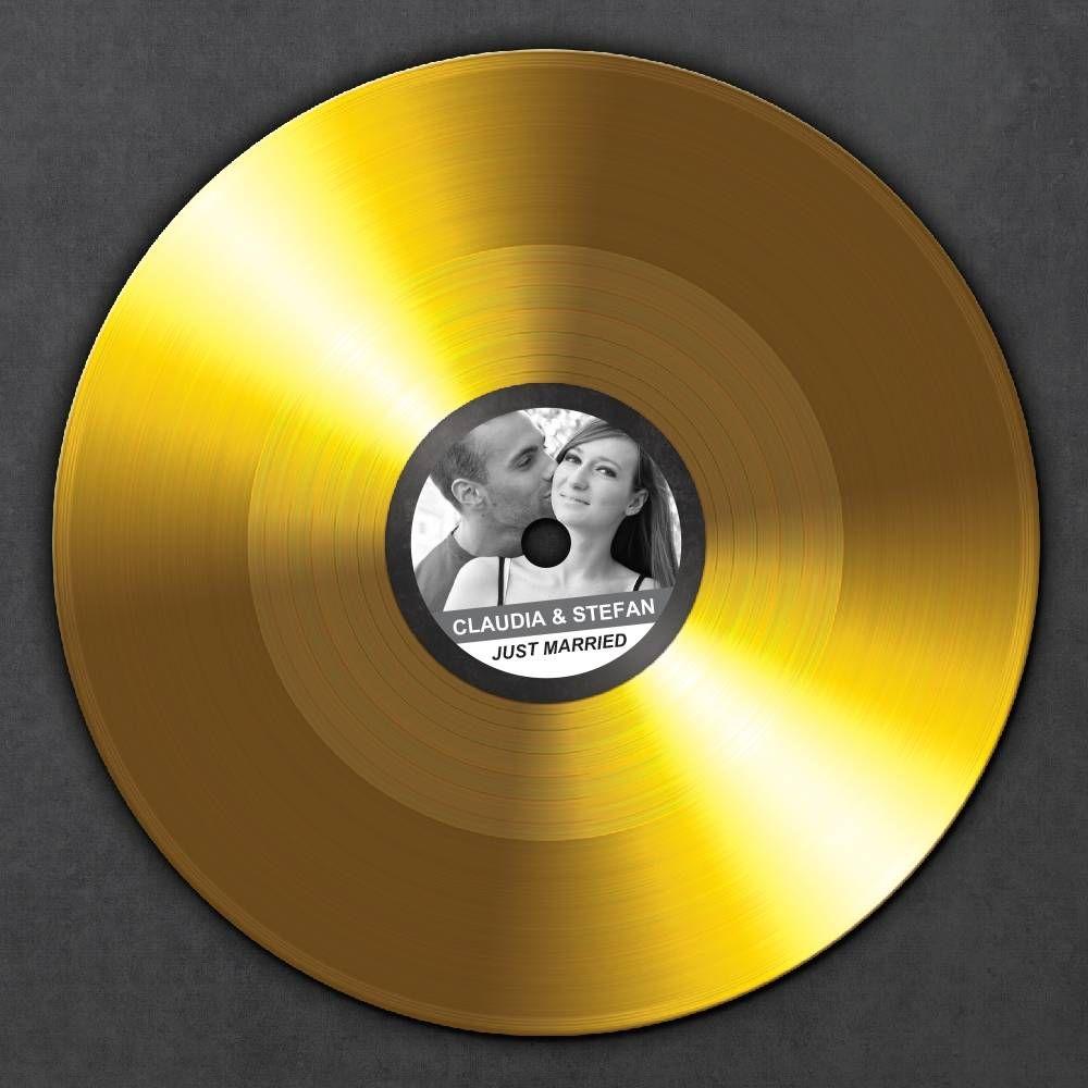 Goldene Schallplatte Zur Hochzeit Ihr Bild Und Name Auf
