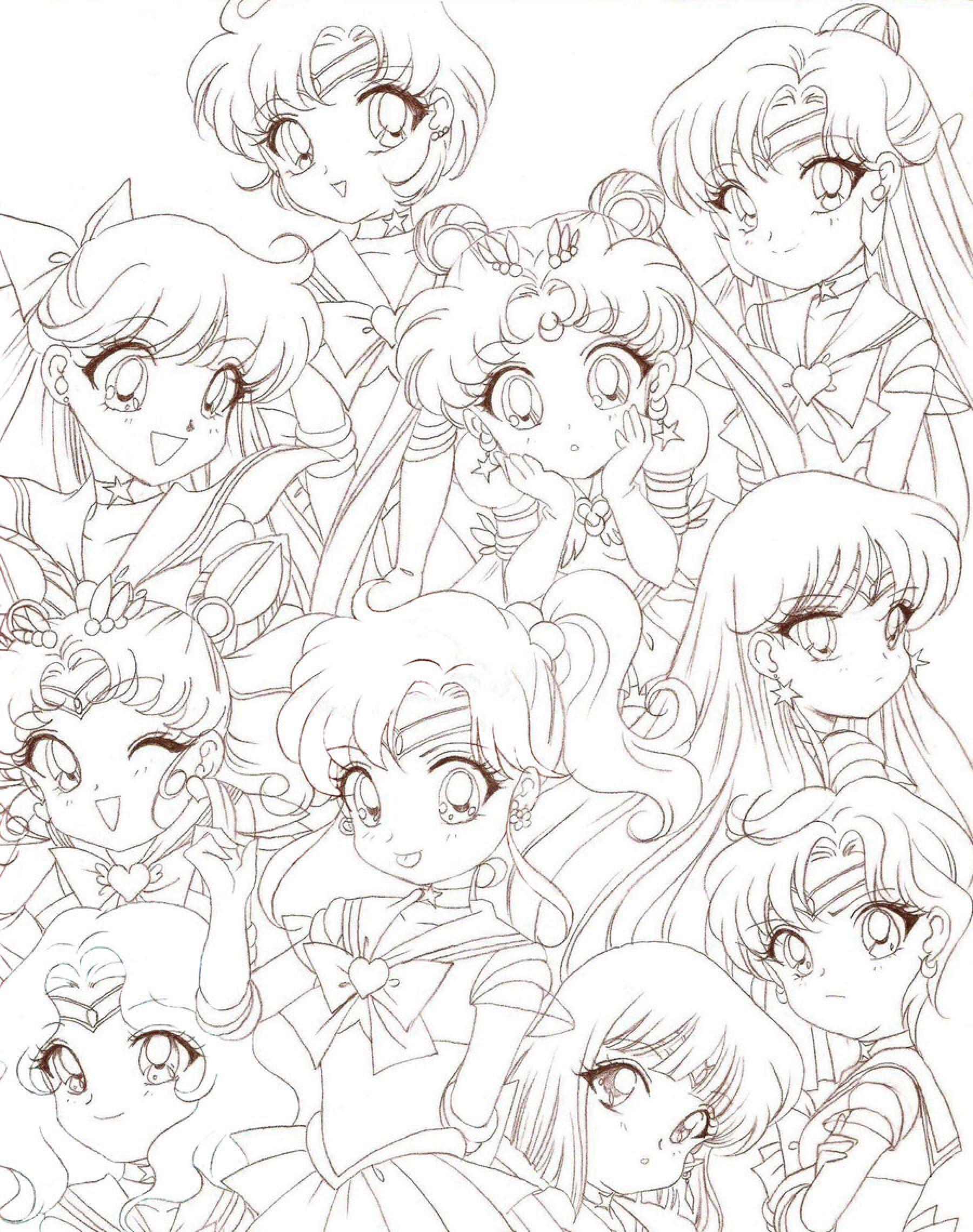 Lineart: Sailor Moon Chibis by Rurutia8 on @DeviantArt | Sailor Moon ...