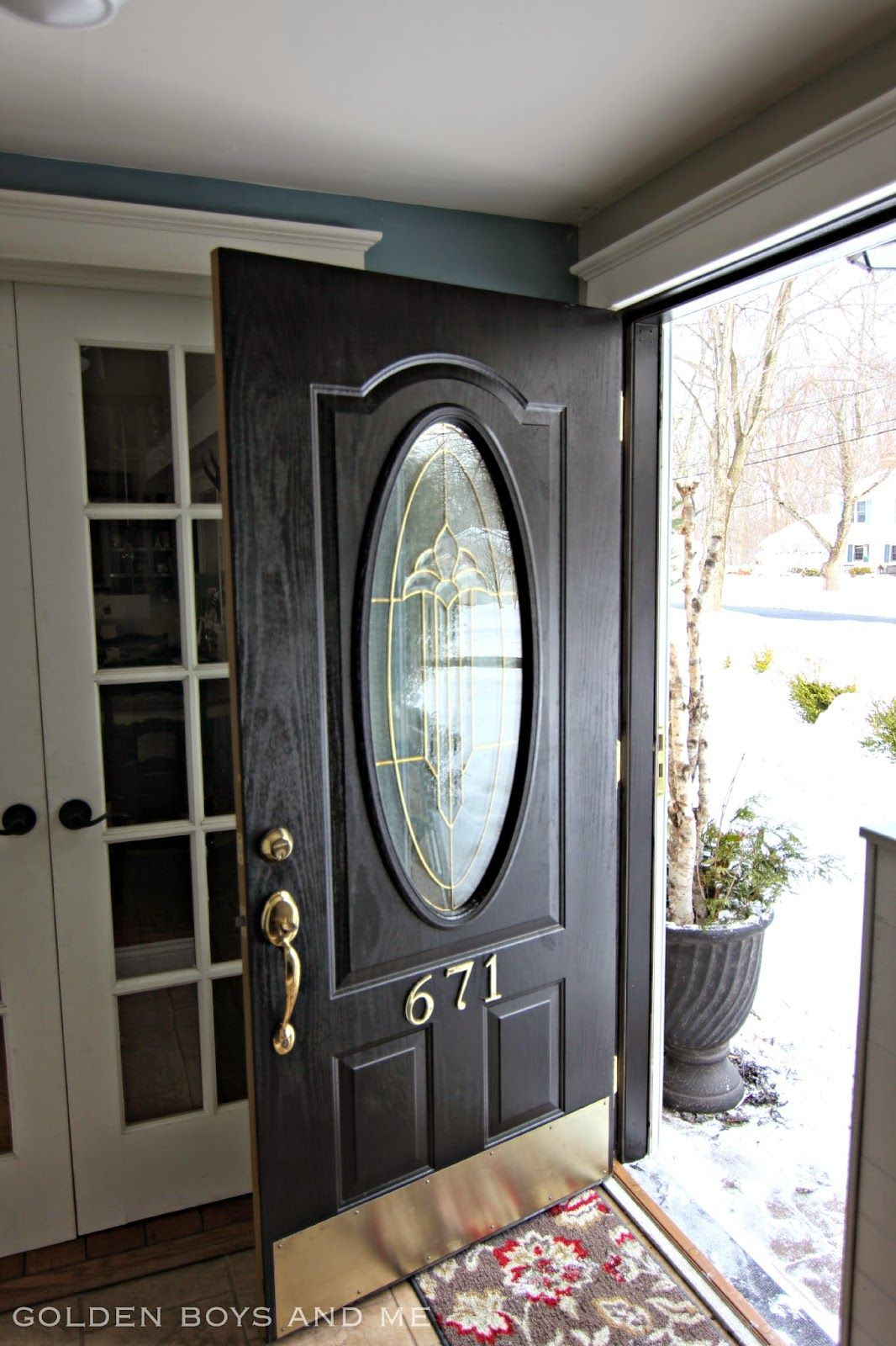 front door hardware brass. Front Door Makeover With Black Paint And Brass Hardware -www.goldenboysandme.com