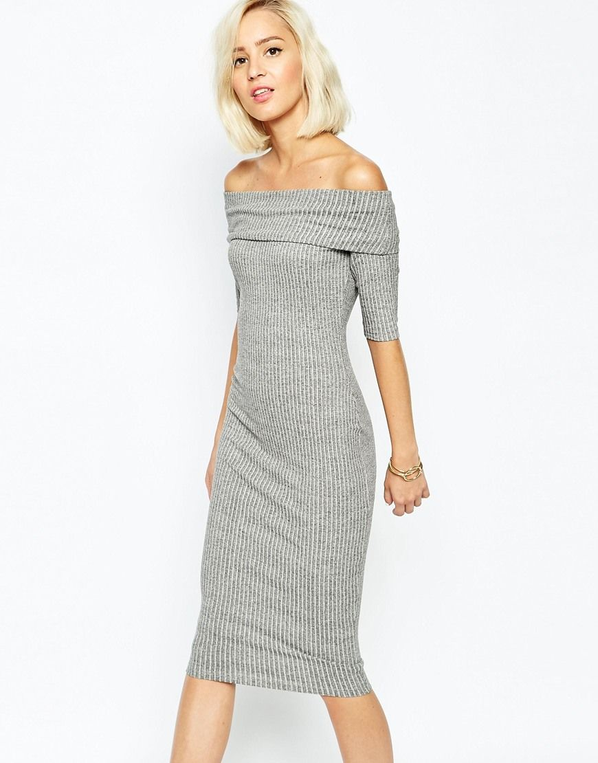 Asos Midi Dress With Peplum Hem And Sweetheart Neck 163 45 - Clothes