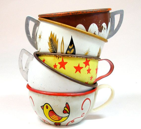 Tin Toy Tea cups, Bird & stars, 50s Autumn set in orange, brown, yellow.