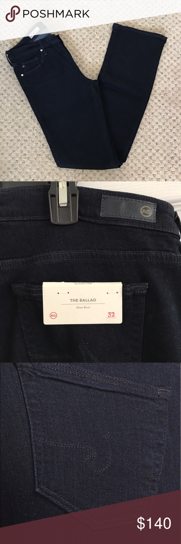 "AG 'The Ballad' Slim Bootcut Denim Jeans New with tags AG Adriano Goldschmied 'Ballad' slim bootcut denim jeans size 32R. The price tag was removed however the tag with size and style (see pic 2) is still attached.   Measurements:  Waist 32"" Inseam 33"" Length 42.5"" Leg opening across the bottom hem 8.5""  🚫No trades or modeling 📦Same/next day shipping AG Adriano Goldschmied Jeans Boot Cut"