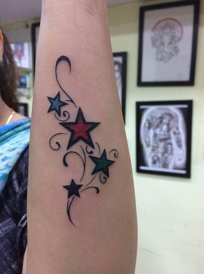 Colorful Stars Tattoo Done By Mumbai Tattoo Supply Tattoostudioinmumbai Tattooartistincolaba Tattooremovalin With Images Star Tattoos Tattoos Rose Tattoos On Wrist