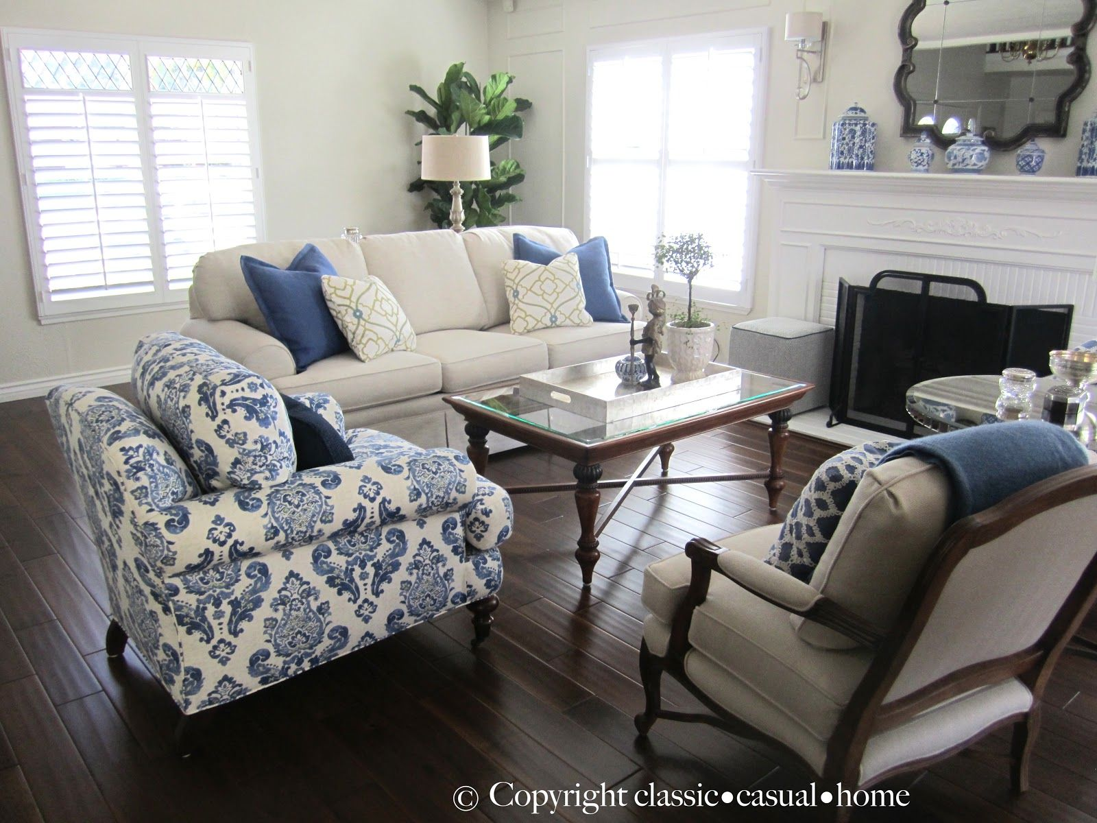 Blue and white living room - Classic Casual Home Blue White And Silver Timeless Design