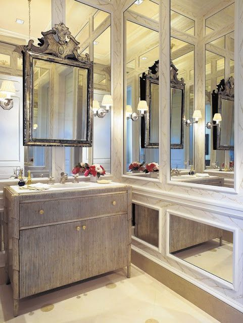 One of the guest baths in the guest house of Hilary and Wilbur Ross in Palm Beach FL.  The designer was Mario Buatta.