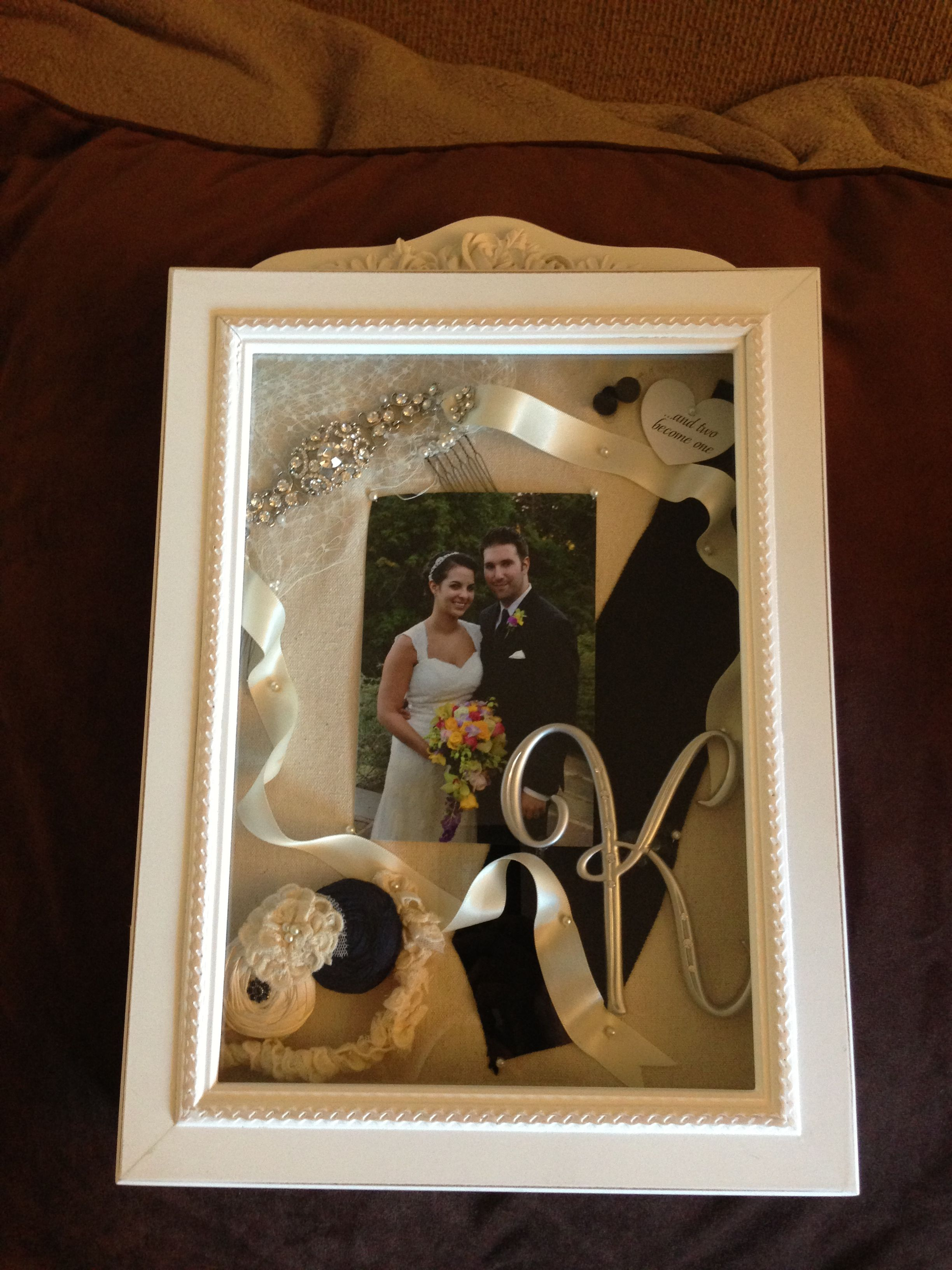 Our Wedding Shadow Box Filled With Cake Topper Cuff Links