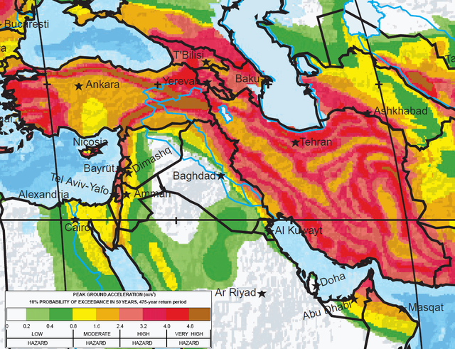 The greatest earthquake zones on earth middle east and history where are the greatest earthquake threats in the world seismic hazard map of turkey gumiabroncs Choice Image