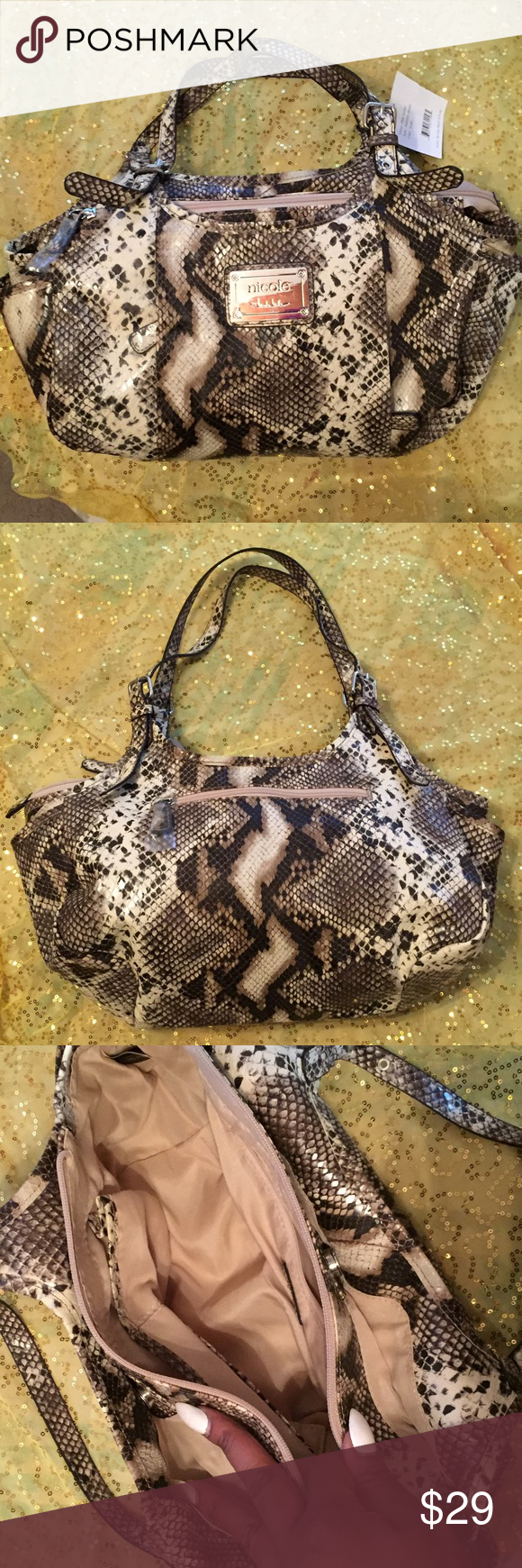 Nicole Miller Snake Print Purse Brand New, $70 value Multiple pockets and sections Zips close Nicole Miller Bags Shoulder Bags