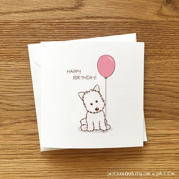 Dog Birthday Cards Handmade Westie With By Jackieandpals