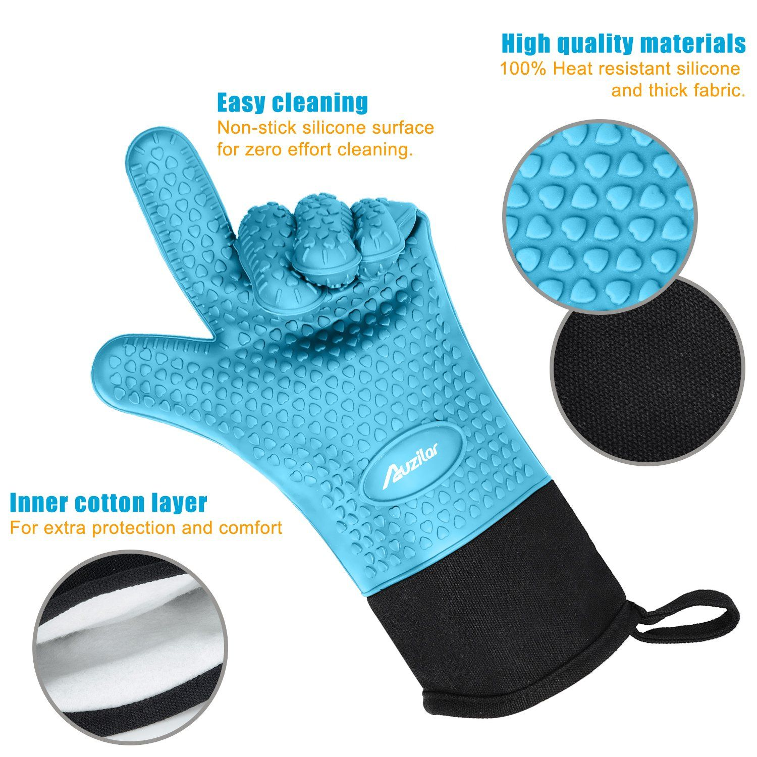 Silicone Oven Mitts Extralong Heat Resistant Mitts Kitchen Gloves