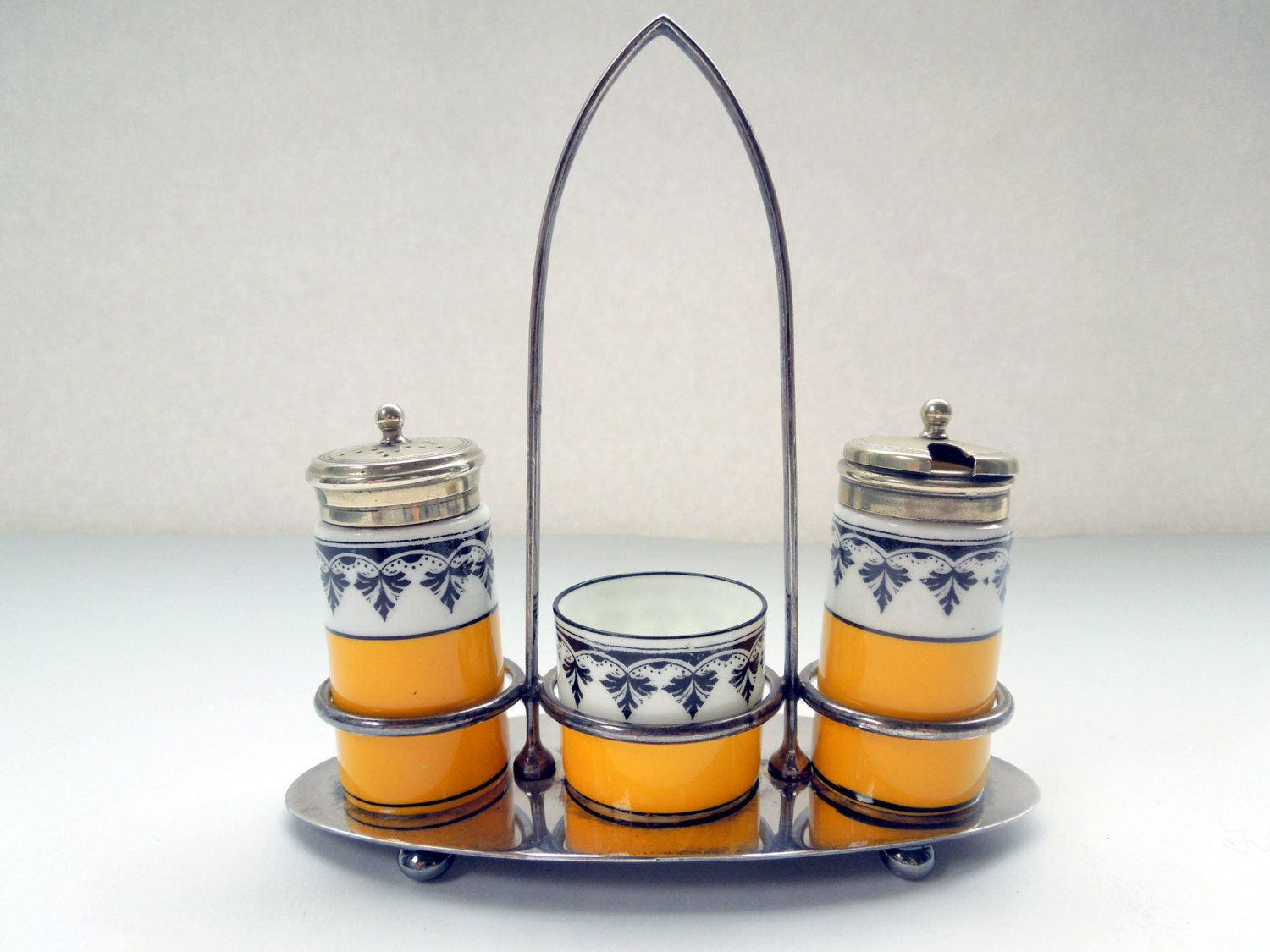 Art Deco Condiment 3 Piece Set George Jones Crescent National Silver Co Viceroy Wedding Anniversary Birthday Bridal Shower Collector Gift by Passion4Europe on Etsy