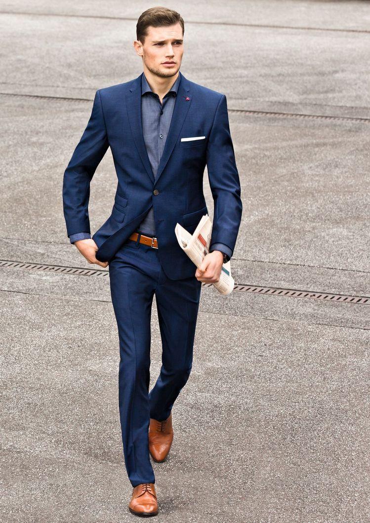 Crisp slim navy suit with brown cap toe shoes brown leather belt light blue  shirt white cotton pocket square lape… | Blue suit men, Mens outfits, Mens  fashion suits