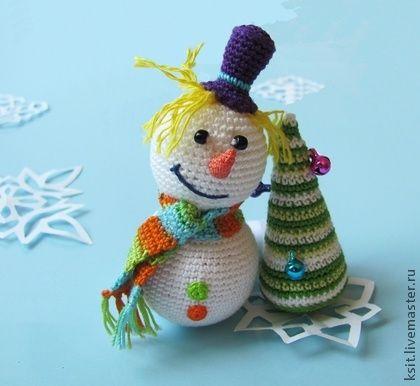 Снеговик - снеговик,вязаный снеговик,вязаная игрушка,сувенир,подарок на новый год