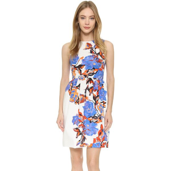 Monique Lhuillier Sleeveless Dress ($545) ❤ liked on Polyvore featuring dresses, silk white multi, monique lhuillier dresses, flower printed dress, white sleeveless dress, floral dresses and monique lhuillier