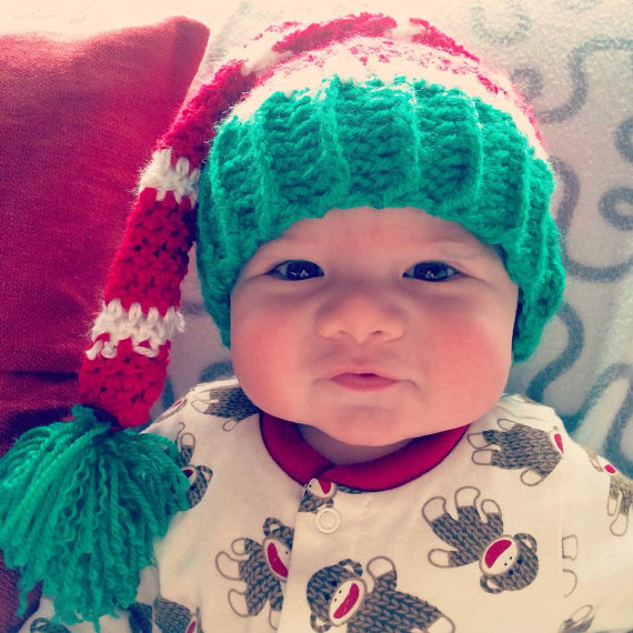 40946af4b6020 Red Enchanting Elf Hand-Crocheted Baby Christmas Hat - Crochet Elf ...