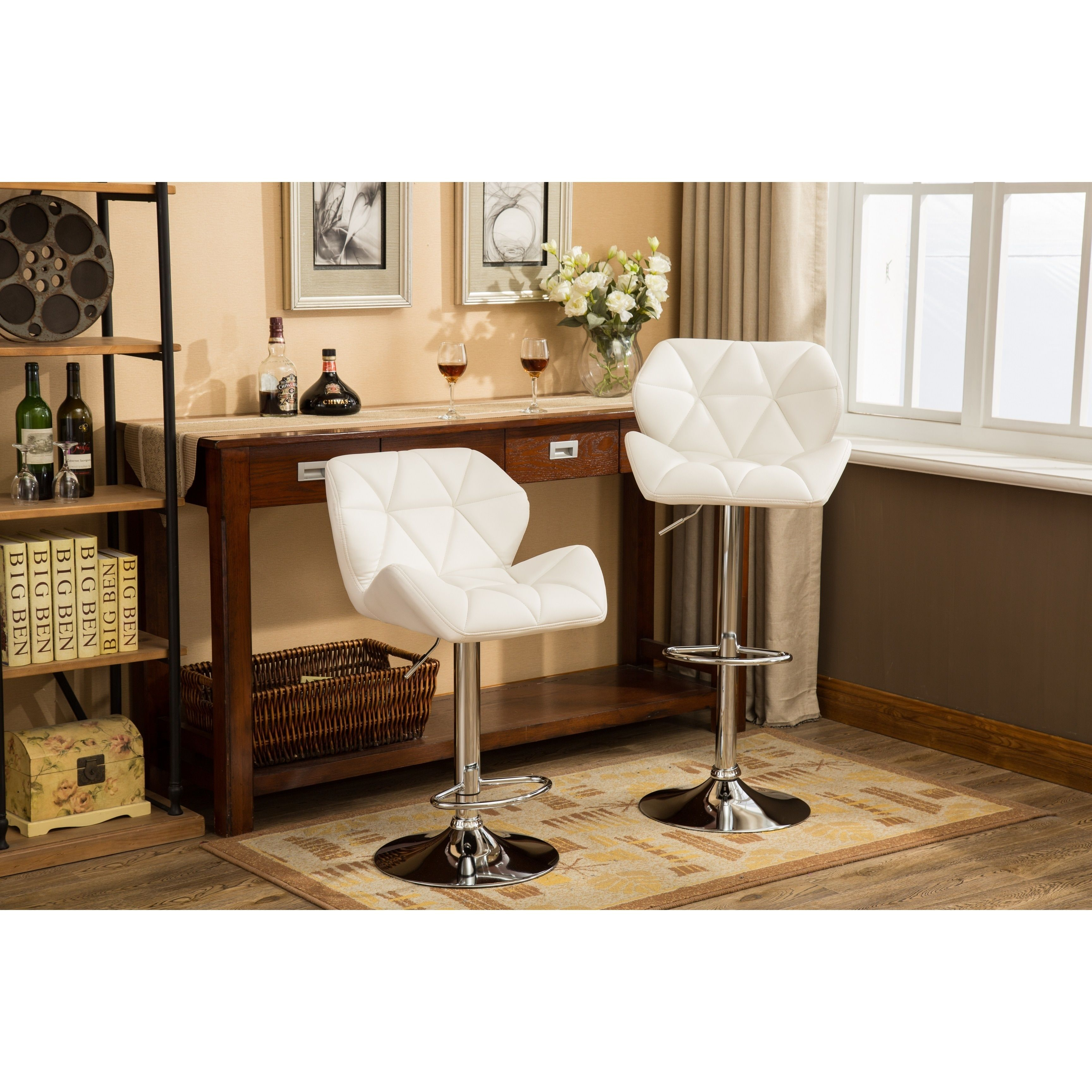 Surprising Glasgow Faux Leather Tufted Adjustable Height Bar Stools Andrewgaddart Wooden Chair Designs For Living Room Andrewgaddartcom
