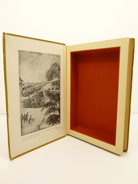 Hollow book safe stash box by AdventureBoundBooks. Tom Swift and his Giant Cannon, 1913 edition. Magnetic closure, copper red felt lined.