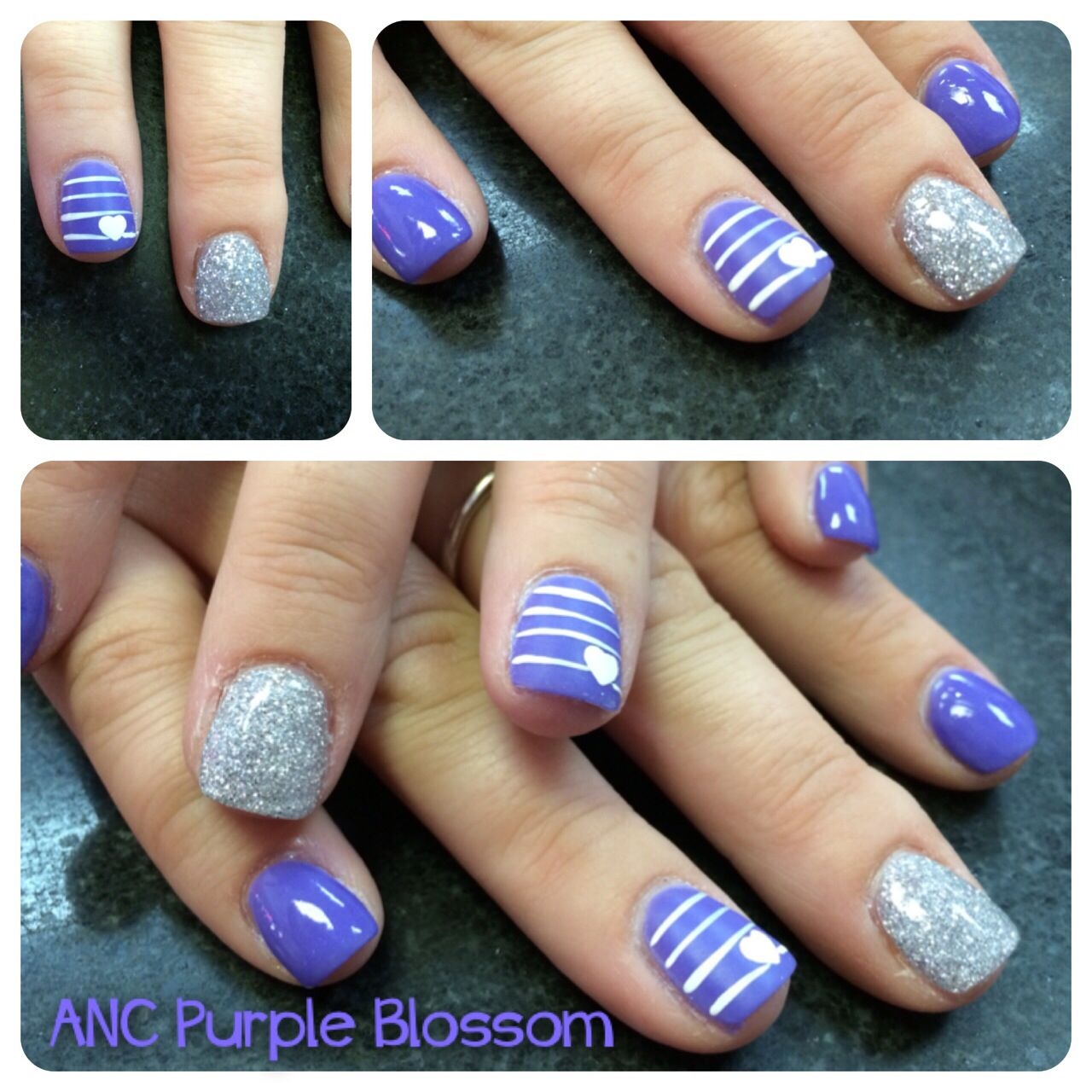 ANC purple & hearts! - ANC Purple & Hearts!! Amazing Nails Concept ANC Nails Ombre ANC