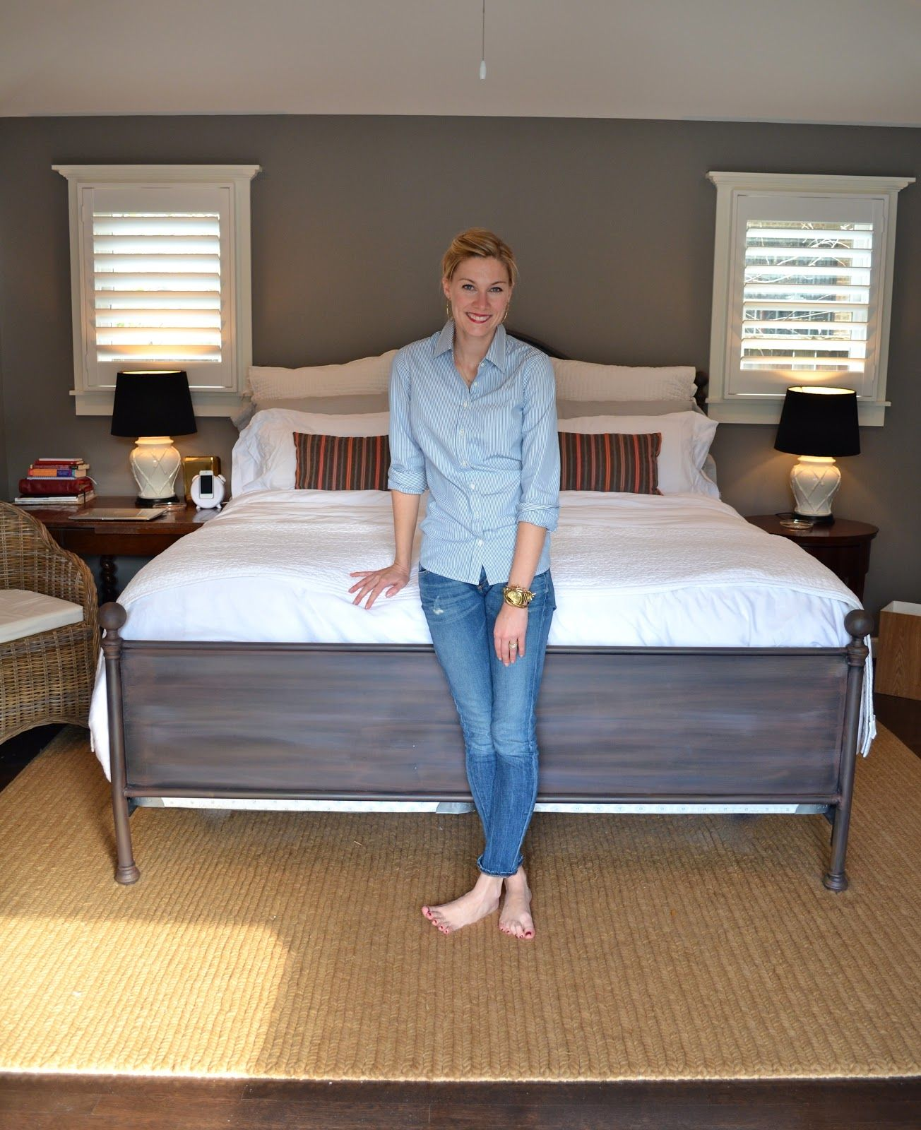 """paint color is Pratt and Lambert """"Rubidoux"""" and my bed is from Garnett Hill!"""
