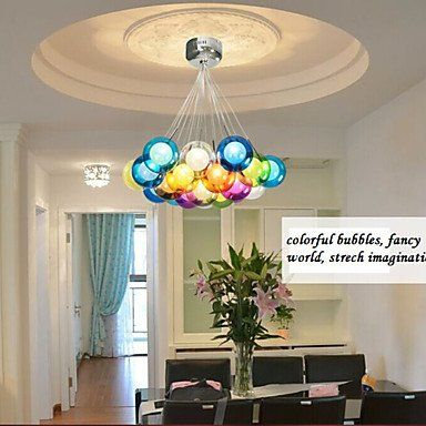 Modern Bubble Globe Colored Glass Pendant Light With 19 Lights