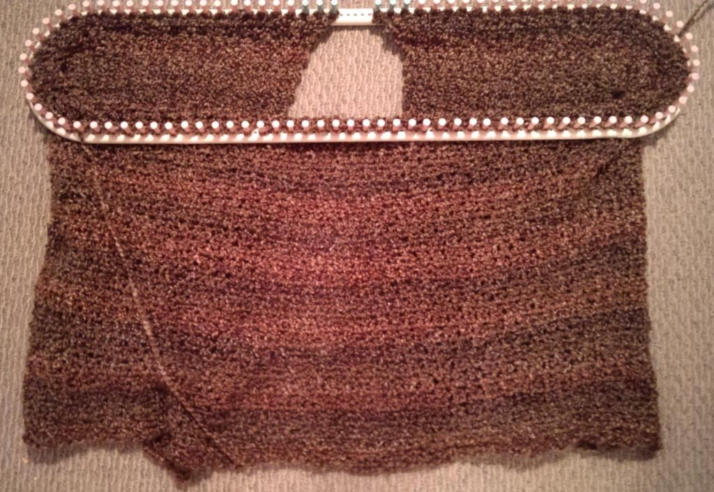 Loom knit throw in progress - largest configuration possible on ...