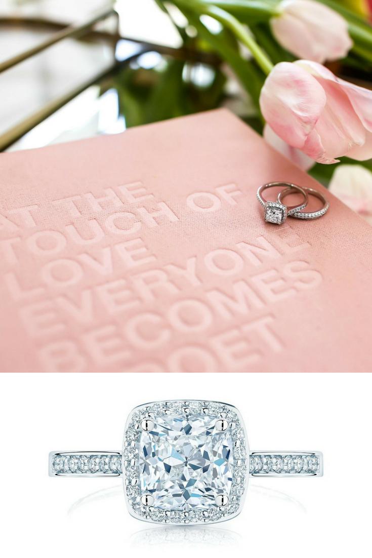 Birks Amorique Cushion Cut Diamond Engagement Ring with Single Halo ...