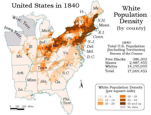 Map Of Us In 1840.1840 White Population Density 1820 1860 Antebellum America