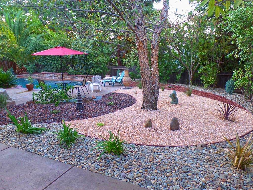 Simple drought tolerant backyard landscape design for Landscape garden ideas pictures