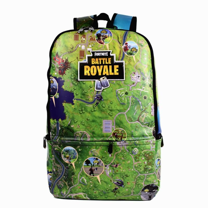 d02647c71a54 Fortnite Map Design Game Backpack Full PU Leather School Bag For Boys Men s Travel  Bag Green and Black Color