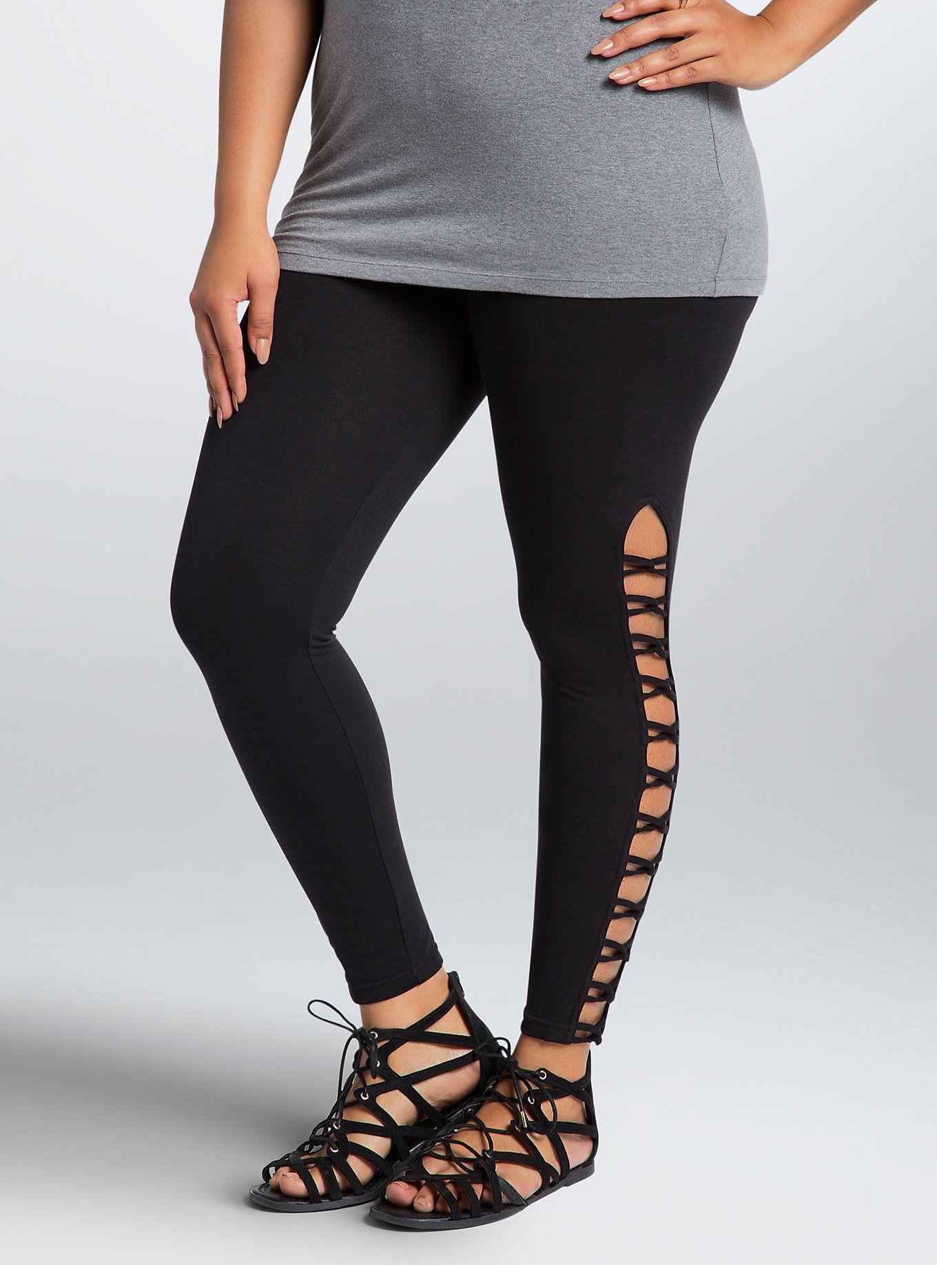5766c2ed3b Side Lattice Leggings in 2019 | style | Leggings, Plus size legging ...