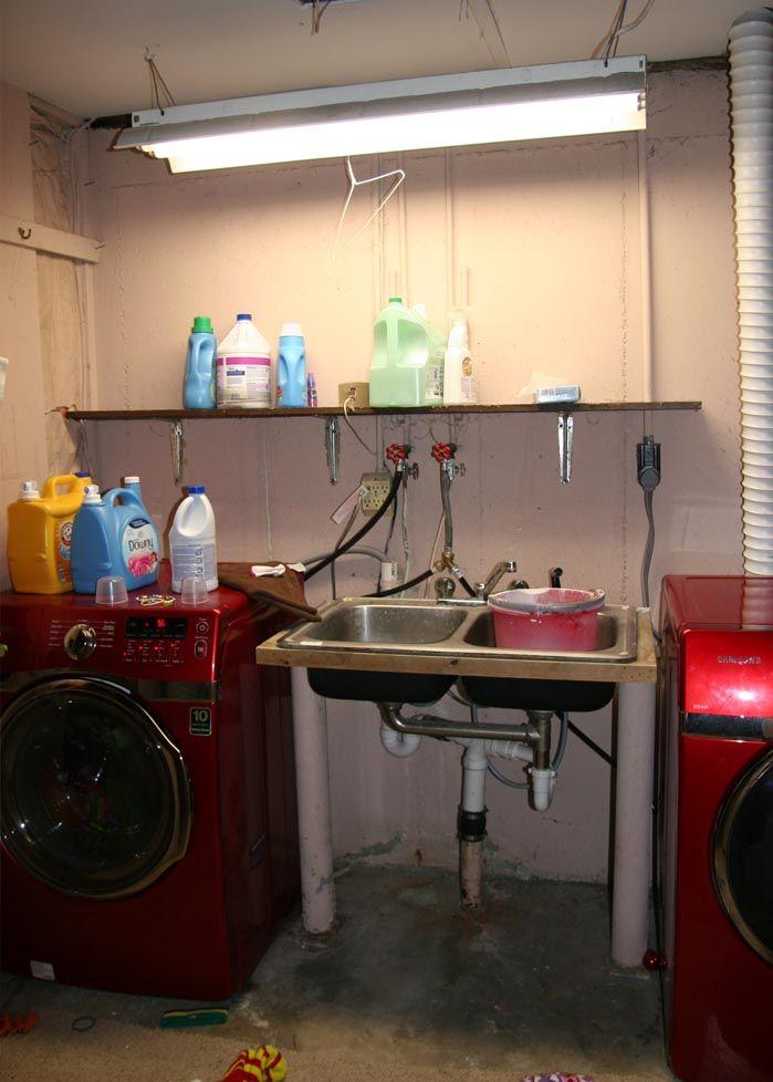 Basement Laundry Room Makeover Unfinished basement laundry