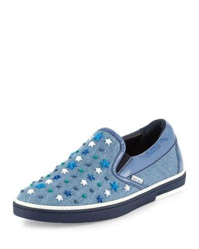 67d591867a354 Men's Designer Sneakers at Neiman Marcus. N3JGL Jimmy Choo Grove  Star-Detail Denim Slip-On Sneaker, Denim