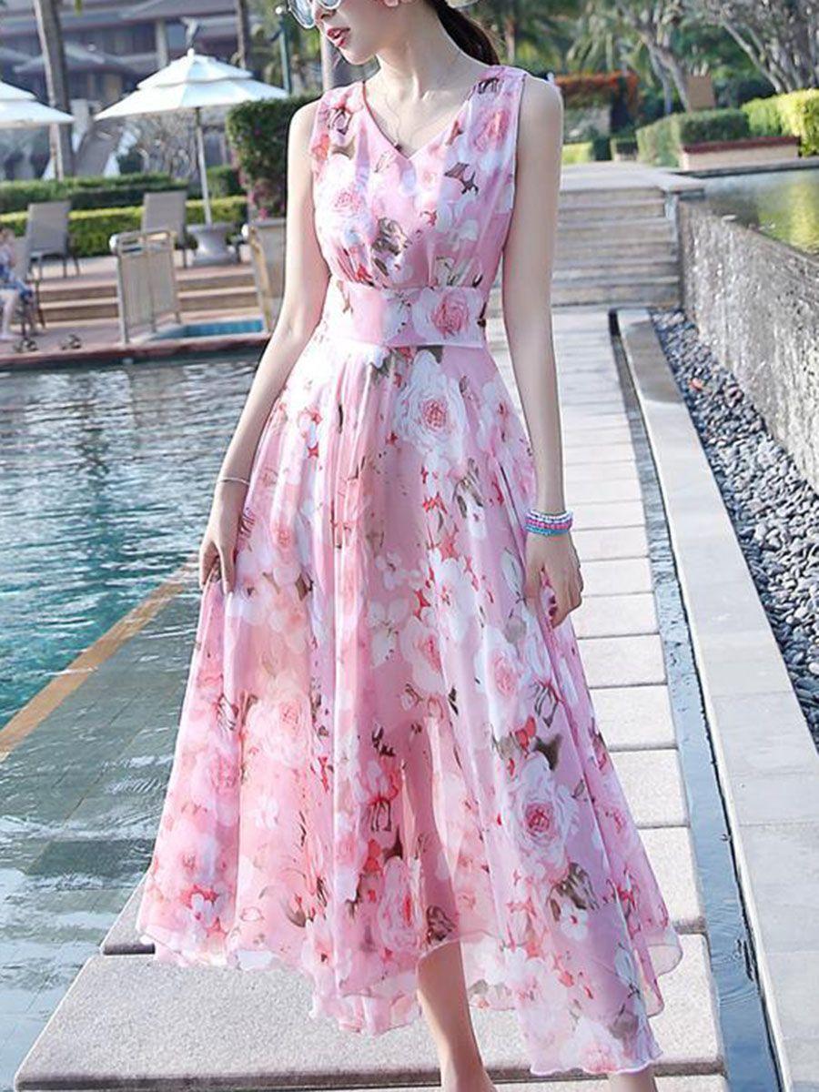 V-Neck Floral Chiffon Sleeveless Maxi Dress | Pink | Pinterest ...