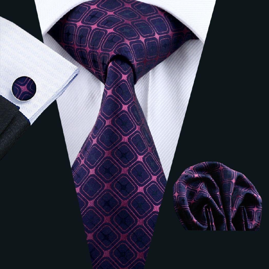 Classic Mens Purple Blue Silk Tie Set Woven Striped Checks Necktie Wedding Party