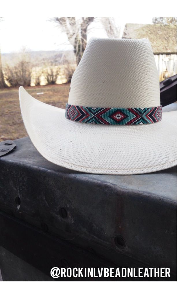 Custom hatbands. Rockin' LV Bead & Leatherwork on facebook and Instagram at @rockinlvbeadnleather