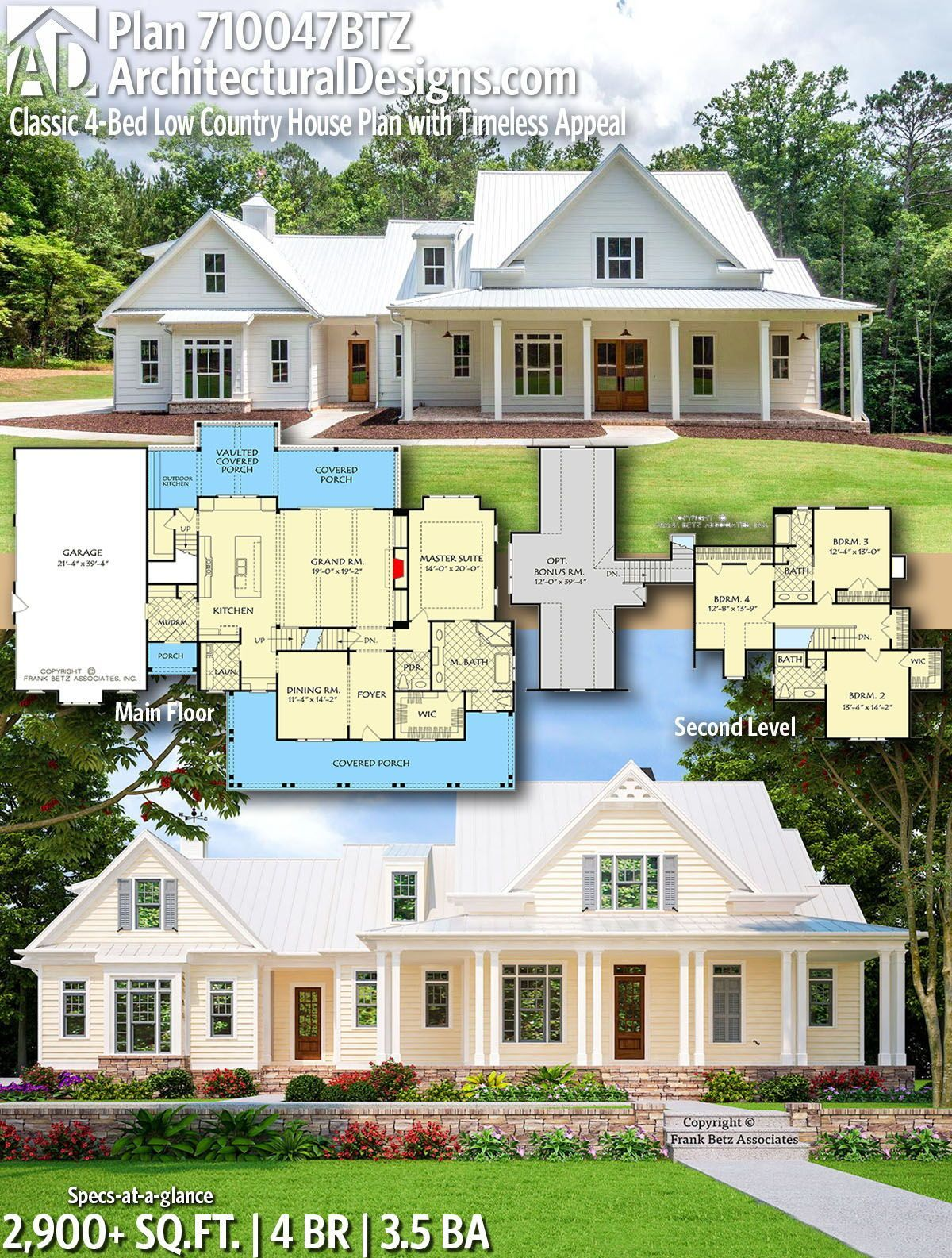 Plan 710047btz Classic 4 Bed Low Country House Plan With Timeless Appeal Architectural In 2020 Farmhouse Style House Plans House Plans Farmhouse Country House Plan